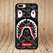 supreme shark bape for iphone 7 7 plus hard case cover
