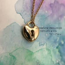 excellent authentic tiffany co mini heart lock rose gold pendant necklace 750