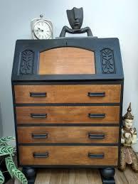 SOLD* Jentique Art Deco Bureau In Graphite Black 1930s | Conscious Cubby