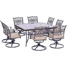 traditions 9 piece aluminum outdoor dining set with square glass top table and swivel