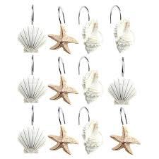 scallop starfish conch shower curtain hooks regarding size x flamingo chrome shower curtain hooks shower design