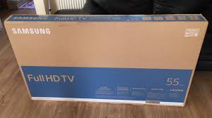 samsung tv packaging. samsung full hd led smart tv 55 inch ** brand new in sealed box* packaging
