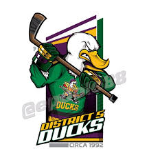 a yellow billed duck with 1992 d5 ducks jersey from the film the mighty ducks