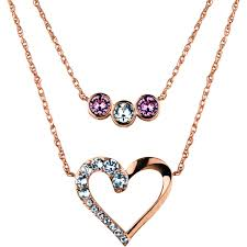 truly inspired swarovski crystal fine silver plated 14kt rose gold flash open heart multi setting duo necklaces com