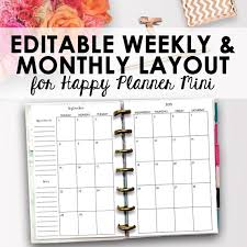 planners weekly monthly mini happy planner weekly and monthly pages happy planner mini printable editable weekly monthly pages printable inserts instant download