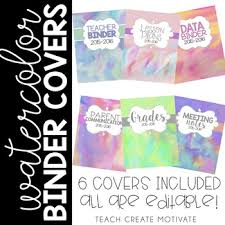 create binder cover watercolor binder covers by teach create motivate tpt