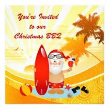Summer Surfing Santa Christmas Party Invitation. Perfect for those who  celebrate Christmas in summer -