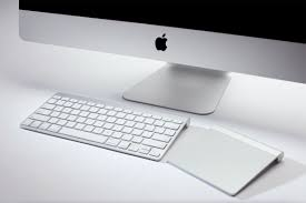 Apple keyboard and trackpad.