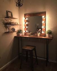 cute easy simple diy wood rustic vanity mirror with hollywood style lights 4 any makeup room
