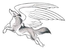 tribal wolf with wings drawing. Brilliant Wings MysticalFantasy Leaping Wolf Drawing With Wings Tattoo On Tribal With E