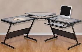 minimalist glass l shaped desk