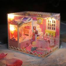 hoomeda diy dollhouse kit kids girls collection gift toy doll house with led light