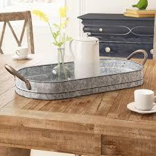 luna galvanized oval metal serving tray