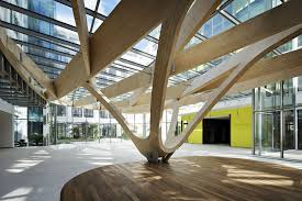 Wooden office buildings Minimalist Office Building Inout Near Paris Redesigned Foyer With Wood Beams Detail Relax At Work Office Building Inout Near Paris Detail Magazine