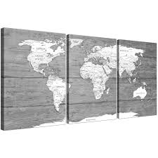 oversized large black white map of world atlas canvas wall art print multi 3 panel 3315 display gallery item 1  on canvas black and white wall art with large black white map of world atlas canvas wall art print split