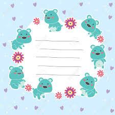 Cute Teddy Bear Memo Layout Design Royalty Free Cliparts Vectors