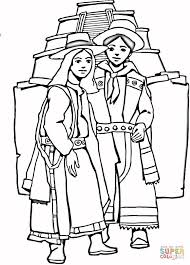 Small Picture Aztec girl and boy coloring page Free Printable Coloring Pages
