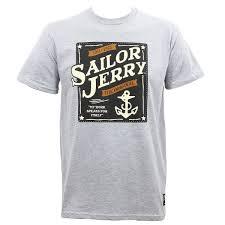 моряк джерри татуировки наша печать якорь логотип серый вереск Slim Fit футболка S 3xl