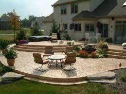 Multi Tier Raised Stamped Concrete Patiomaybe our next house