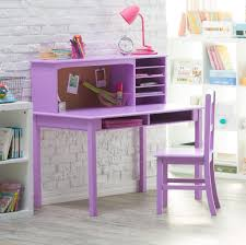 Furniture: Appealing Solid Purple Kids Study Desk And Chair Set With Pink  Desk Lamp And