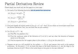 How To Do A Cover Page New Solved Partial Derivatives R Eview Please Staple Your Wor