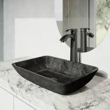 black bathroom faucets. VIGO Rectangular Gray Onyx Glass Vessel Bathroom Sink Set With Otis Faucet In Matte Black Faucets C