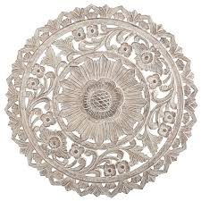 round medallion wall art white wood wall art unique carved whitewash round wall decor