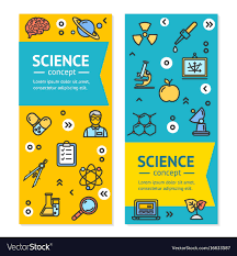 Science Research Posters Science Research Vertical Banners Posters Vector Image