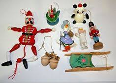 8 Wood Christmas Ornaments Vintage Lot Santa Goose Sled Nurse Panda Acorn  Adler