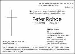 Peter Rohde Trauer Traueranzeigen Nachrufe Badische Zeitungde