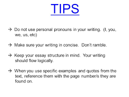 exam essay structure ppt video online tips do not use personal pronouns in your writing i you