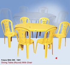 plastic round dining table with armless chair