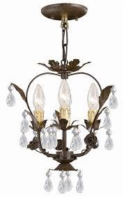 dark rust wrought iron mini chandelier