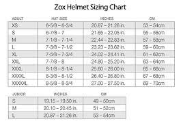 Zox Kaba S Snow Helmet Sizing Chart