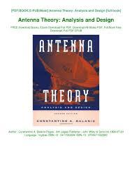 Antenna Theory And Design Pdf Pdf Download Antenna Theory Analysis And Design Pdf Ebook