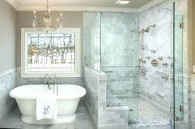bathroom remodel ideas pictures standing shower glass door bath tub gray tile small renovation id