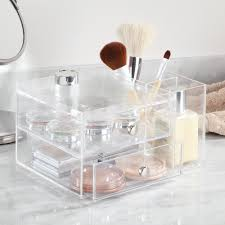 interdesign clarity cosmetic organizer for vanity cabinet to hold makeup beauty s 2 drawer with side caddy clear walmart