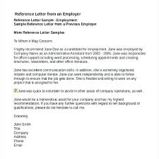 employment reference template job recommendation letter sample from employer intended for