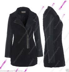 ordered new faux leather sleeve faux fur biker coat jacket s size 8 10 12 14 16 women clothing