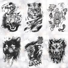 Us 084 35 Offtiger Skull Leopard Dragon Waterproof Temporary Tattoo Sticker Wolf Animals Tattoos Body Art Arm Hand Men Fake Tatoo In Temporary