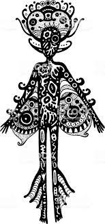 部族シルエット外国人男性シュールな幻想的なインク グラフィック アート