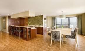 Kitchen And Living Room Flooring Kitchen Delightful Open Plan Kitchen Design With Brown Kitchen