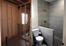 Basement Bathroom Remodeling Cool How To Finish A Basement Bathroom Before And After Pictures