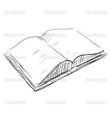 drawings of books sketch open book icon stock vector