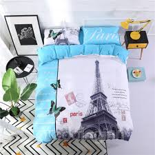 55 eiffel tower in paris blue polyester printing 4 piece bedding sets duvet cover