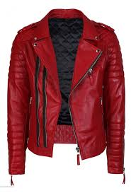 mens quilted red faux leather jacket