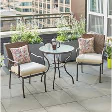 hampton bay pin oak 3 piece wicker outdoor bistro set with oatmeal cushions