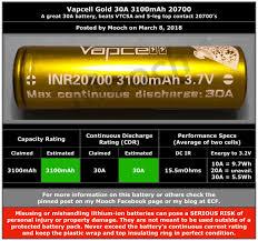 Mooch Battery Chart 20700 Vapcell Gold 30a 3100mah 20700 Battery Mooch Batteries