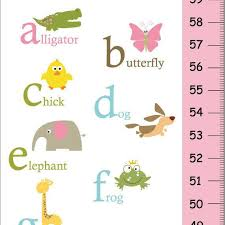 On Sale This Week Alphabet Animals Children Growth Chart Pink And Green Nursery Wall Art Baby Girl Room Decor