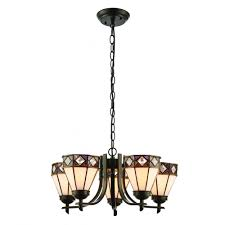 fargo art deco 5 arm ceiling light with up facing tiffany glass shades